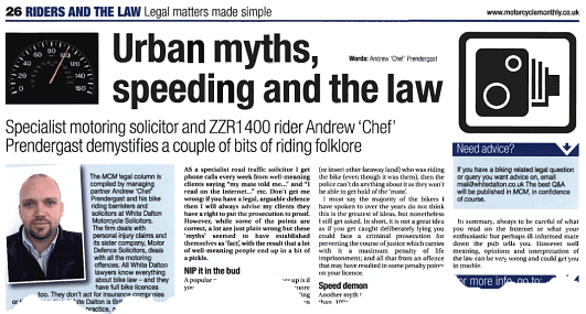 Urban myths, speeding and the law