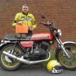 Derek Freegard with his Yamaha 1976 RD400C
