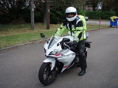 Gavin Grewal in hi-vis motorcycle clothing